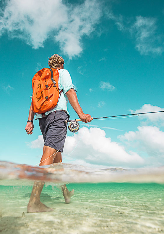 a half underwater photo of a saltwater fly fisherman walking the flats during a visit to Bairs Lodge, Bahamas