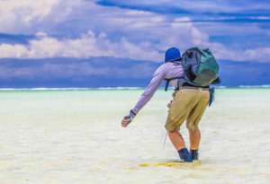 a fly fisherman bent forward strips a fly in ankle deep water chasing bonefish on the flats at Alphonse Island, Seychelles