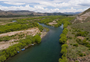 an aerial view of the river valley that anglers fish during their stay at Northern Patagonia Lodge, Argentina
