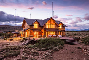 an evening view of the lodge facilities at Northern Patagonia Lodge, Argentina