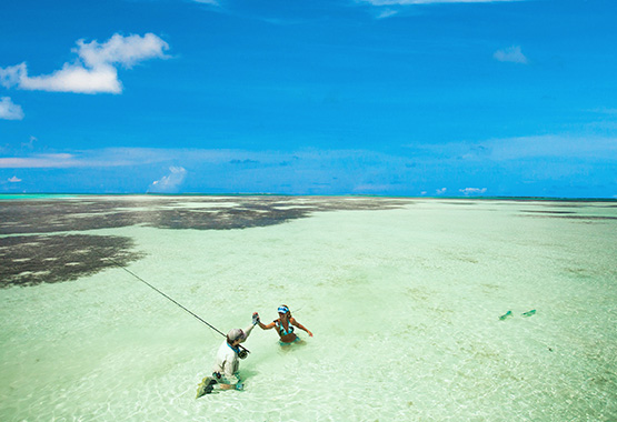 an aerial shot of a guy and girl celebrating with a high five while sitting on their knees in the shallow saltwater flats at Cosmoldeo Atoll, Seychelles