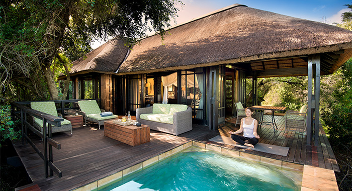 yoga in front of your private pool at phinda vlei lodge