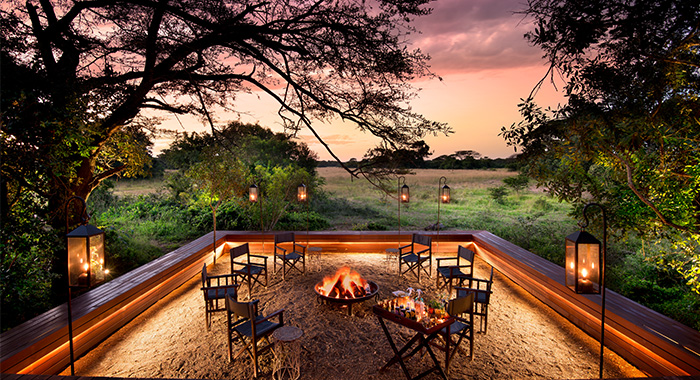 game viewing from the fire pit at phinda vlei lodge
