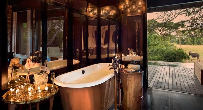 the bathroom at phinda vlei lodge